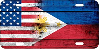 ExpressItBest High Grade Aluminum License Plate - Flag of Philippines (Filipino, Pinoy) - Wood/USA