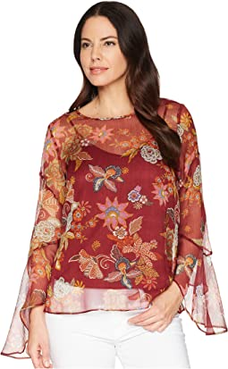 Flared Sleeve Floral Print Blouse