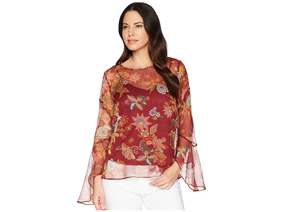 Vince Camuto Flared Sleeve Floral Print Blouse (Dahlia Red) Women's Blouse