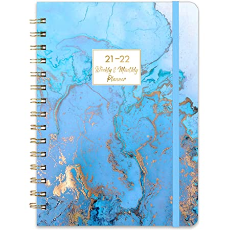 2021-2022 Diary - Weekly & Monthly Diary with Tabs, a5 Week to View from Jul. 2021 - Jun. 2022, Hardcover, Inner Pocket, Thick Paper, Tabs, Banded, Twin-Wire Binding, 21.5 x 15.5 cm, Blue Gilding