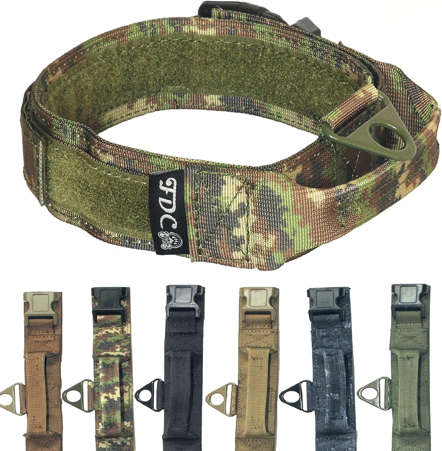 FDC Heavy Duty Military Army Tactical K9 Dog Collars Handle Hook & Loop Width 1.5in Plastic Buckle Medium Large (XL  Neck 14   18 , Camouflage)
