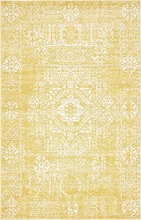 A2Z Rug Modern and Traditional Inspired Overdyed Design Rugs - Yellow 5' x 8'-Feet - santorini Collection Area rug - Contemporary Living Dinning & Bedroom Floor Carpet