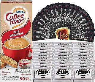 Nescafe Taster's Choice House Blend Instant Coffee 50 Packets, Coffee mate Original Liquid Coffee Creamer Singles 50 Ct Bo...