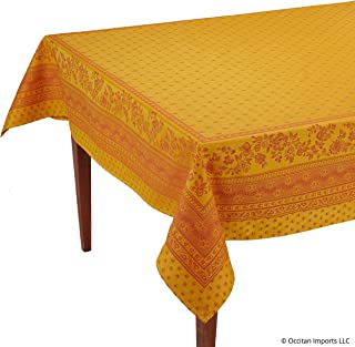 Occitan Imports Durance Yellow Jacquard Rectangular French Tablecloth, 63 x 98 (6-8 People)