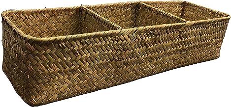 LA Rectangular Woven Seagrass Storage Basket Home Organizer Bins,Natural Water Hyacinth Basket (Yellow)
