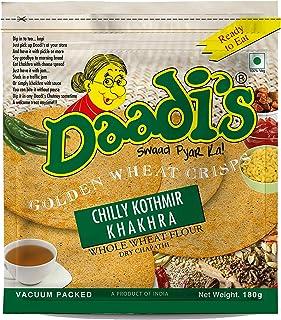 Daadi's Golden Wheat Crisps - Chilly Kothmir Khakhra, 180g (Pack of 3)