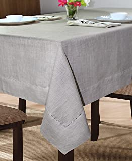 100% Linen Hemstitch Table Cloth - Size 60x60 Natural - Hand Crafted and Hand Stitched Table Cloth with Hemstitch Detailing. The Pure Linen Fabric Works Well in Both Casual and Formal Settings