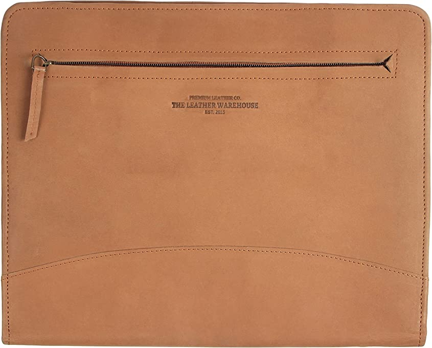 "Zippered Leather Business Portfolio | Padfolio | Document Organizer |Folder for Men Women perfect for Interview | Office professional compatible with 11"" laptop Handmade 