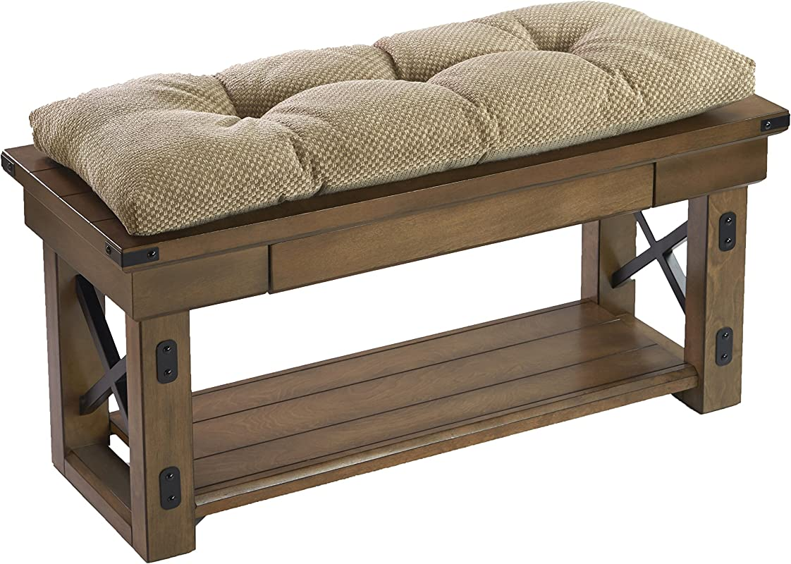 The Gripper Non Slip Rembrandt Tufted Universal Bench Cushion Tan