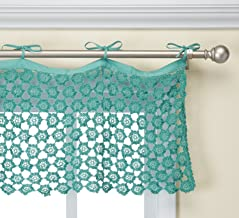 """Heritage Lace 45"""" Wide X 16"""" Crochet Envy 45"""" x 16"""" Drop Teal Pearl Valance"""