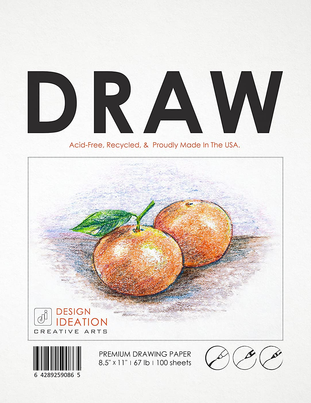 Premium Drawing Paper for Pencil, Ink, Marker and Charcoal. Great for Art, Design and Education. Loose Sheet Pack.(100 Sheet Pack)