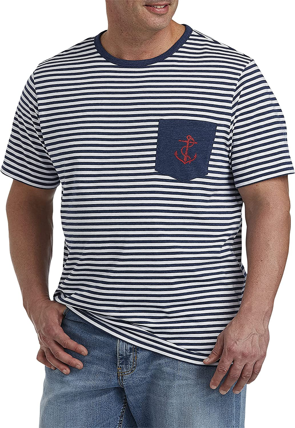 Harbor Bay by DXL Big and Tall Anchor Stripe Pocket Tee, Blue Multi