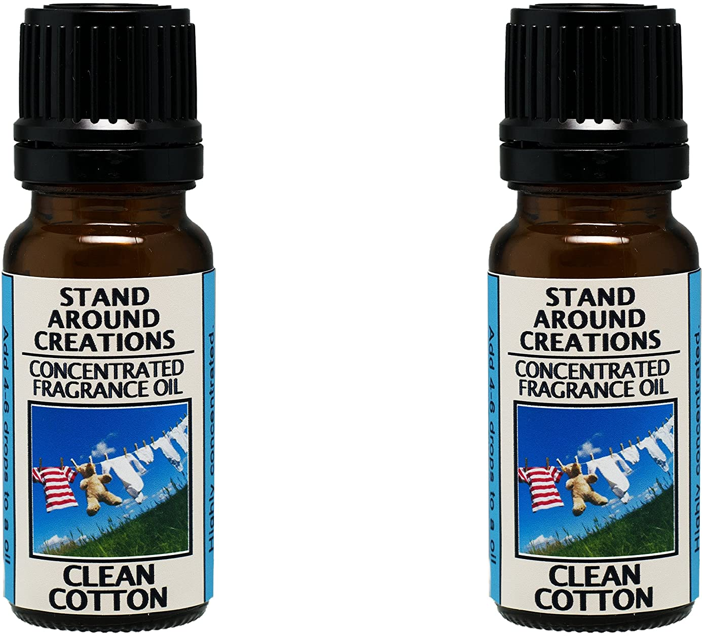 Set of 2 - Concentrated Fragrance Oil - Scent - Clean Cotton: Fresh linens dried on a fresh breezy day. The base is a soft violet, lavender and musk. (.33 fl.oz.) eeljfw3522