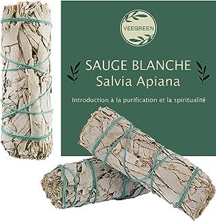 Sauge Blanche Purification à bruler X3 │Salvia Apiana amérindienne│Encens Naturel Anti Stress méditation│ Bougie et Bois d...