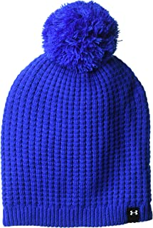 Under Armour Women's Armour Favorite Waffle Pom Beanie, Lapis Blue (984)/White, One Size