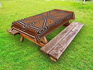 Ambesonne Tribal Outdoor Tablecloth, Australian Aboriginal Style Earth Tone Dot Painting Depicting Pattern with Borders, Decorative Washable Picnic Table Cloth, 58