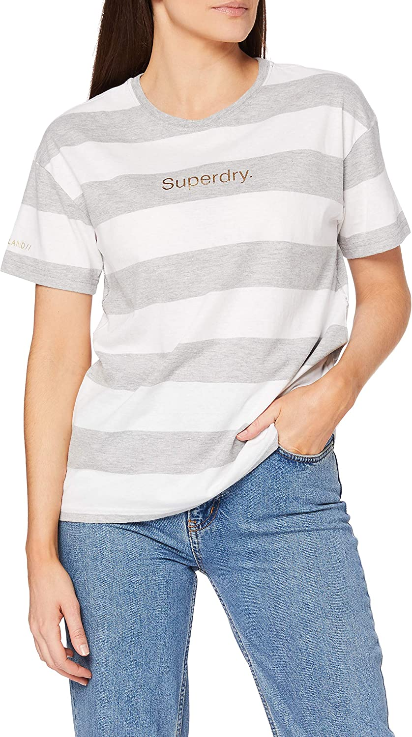 Superdry Organic Cotton Logo Stripe Safety and trust Foil Portland Selling and selling T-Shirt