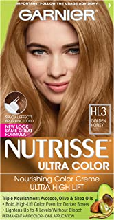 Garnier Nutrisse Ultra Color Nourishing Permanent Hair Color Cream, HL3 Golden Honey (1 Kit) Blonde Hair Dye (Packaging May Vary), Pack of 1