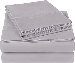 Pinzon 300 Thread Count Organic Cotton Bed Sheet Set - Queen, Dove Grey