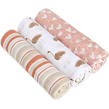 aden + anais 3 Piece Classic Swaddle White Label Baby Blanket, Flock Together