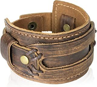 Best mens wide leather bracelet Reviews