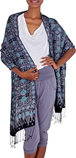 NOVICA Hand-Stamped Blue Women's 100% Silk Shawl, Blue Sarangan'