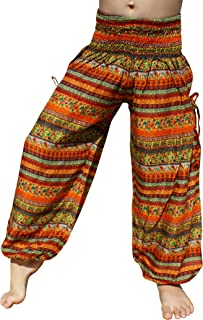 RaanPahMuang Smock Waist Baggy Arabian Viscose Rayon Pants with Two Tied Pockets