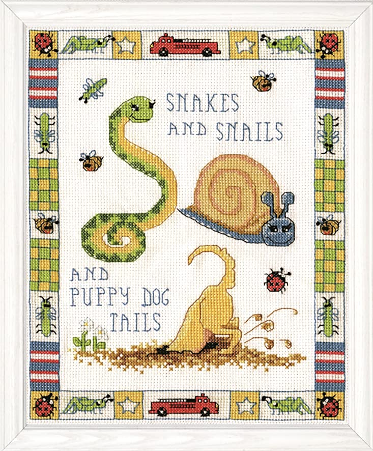 Tobin 2941 14 Count Snakes and Snails Counted Cross Stitch Kit, 8