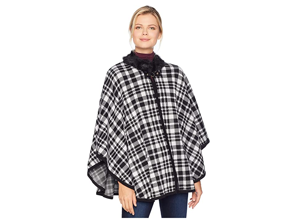 Ivanka Trump Poncho w/ Fur Trim (Black/Ecru) Women
