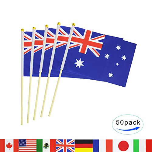 6d86fb648085 Australia Stick Flag,50 Pack Hand Held Small Australian National Flag With  Wood Pole Mini
