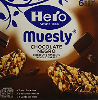 Hero Muesly Chocolate Negro, 1 paquete con 6 barritas x 23 g