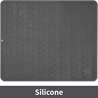 S&T INC. Heavy Duty, Extra Large Silicone Dish Drying or Trivet Mat, 18 Inch x 21 Inch, Grey