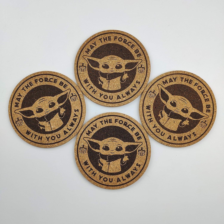 8. 4X Baby Yoda Star Wars Engraved Coaster