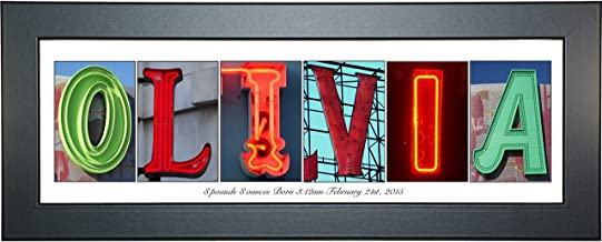 Creative Letter Art - Personalized Framed Name Sign with Neon Alphabet Photographs including Black Self Standing Frame
