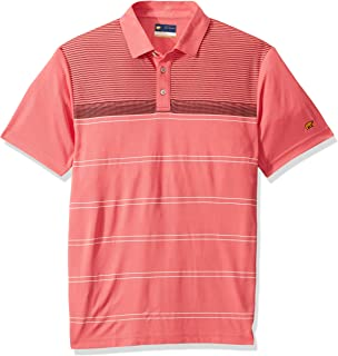 Jack Nicklaus Men's Short Sleeve Lux Touch Printed Polo Shirt with Pocket, Blurred Lines