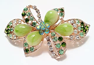 Bow and Bow tie Design Hair Accessory Hair Barrette Style in Different Colors with Jade accent and rhinestone (Green)