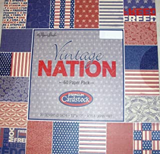 Vintage Nation 12 x 12 Patriotic Military Scrapbooking Paper Pack 60 sheets