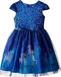 Cap Sleeve Lace Dress w/ Unicorn Print (Little Kids)