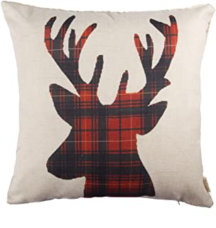 """Fjfz Christmas Winter Deer, Scottish Buffalo Plaid Cotton Linen Home Decorative Throw Pillow Case Cushion Cover for Sofa Couch, Red, 18"""" x 18"""""""