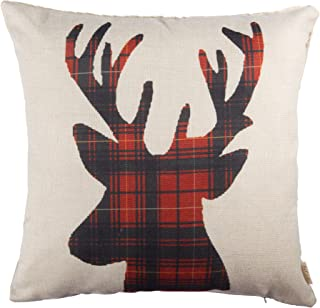 Fjfz Farmhouse Decor Holiday Decoration Cotton Linen Home Decorative Throw Pillow Case Cushion Cover for Sofa Couch Christmas Winter Deer, Scottish Buffalo Plaid, Red, 18