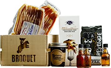 Manly Breakfast Essentials Gift Crate - Bacon & Pancakes & Artisan Coffee & Maple Syrup Sampler - Comes in a Wooden Gift Crate - Great Gift For Men - Manly Breakfast in Bed
