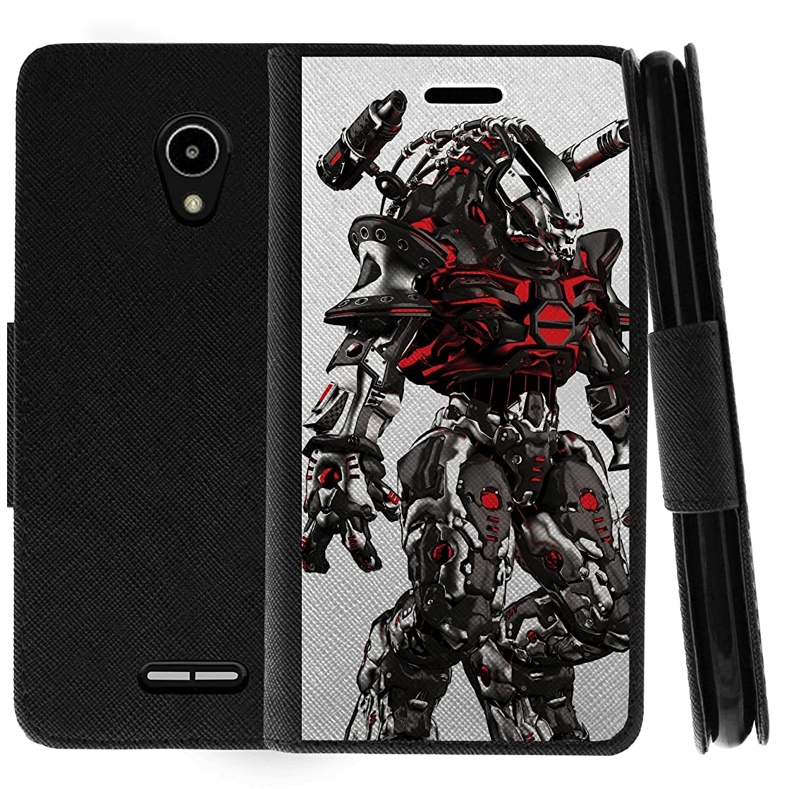 TurtleArmor | Compatible for Alcatel IdealXCITE Case | Alcatel Raven Case | CAMEOX Case | Flip Book Leather Wallet Case Kickstand Cover with Card Slots Robot Military Army Design - Mecha Robot