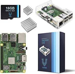 V-Kits Raspberry Pi 3 Model B+ (B Plus) Barebones Kit-with Preloaded SD Card-Clear Transparent Case and Set of 2 Heatsinks [2018 Model]