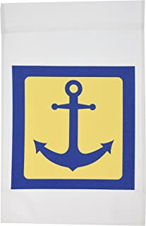 3dRose fl_165794_1 Blue and Yellow Nautical Anchor Design Garden Flag, 12 by 18-Inch