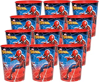 BashBox Marvel Spiderman Birthday Party Supplies Set of 12 16oz Plastic Reusable Favor Cups