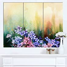 Designart MT14086-3P Pink Sakura Flowers in Soft Color - Flower Glossy Metal Wall Art,Pink,36x28