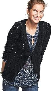 Ellos Women's Plus Size Tie-Front Crochet Cardi