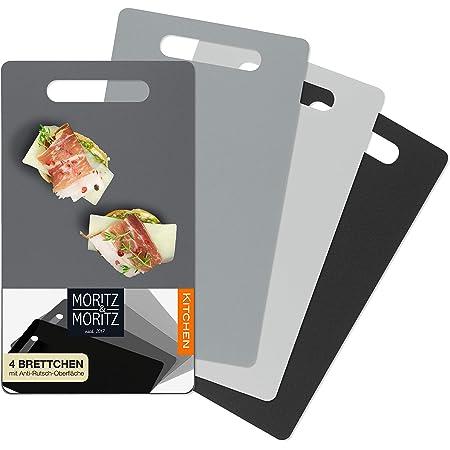 Moritz & Moritz - Set Taglieri Cucina - 4 Tagliere flessibile Plastica -25 x 14,5 cm - Superficie antiscivolo per un Taglio Sicuro - Tagliere da Cucina Plastica