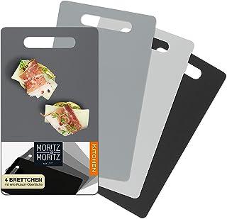 Moritz & Moritz 4 x flexibele snijplank kunststof klein - elk 25 x 14,5 cm - ontbijtplankje - snijplank voor veilig snijde...