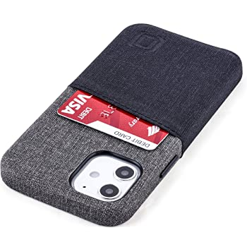 "Dockem Wallet Case for iPhone 12 Mini: Built-in Metal Plate for Magnetic Mounting & 2 Credit Card Holders: 5.4"" Luxe M2, Canvas Style Synthetic Leather (Black and Grey)"